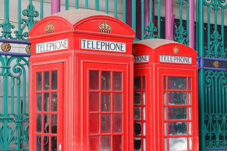London telephone - red phone booths in England. Stockfoto