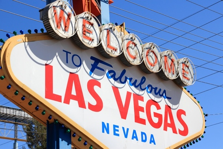 LAS VEGAS, USA - APRIL 14, 2014: Welcome to Fabulous Las Vegas Nevada, famous sign. The sign is on National Register of Historic Places.