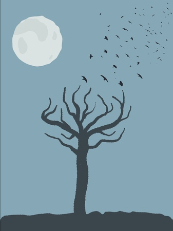 Spooky tree shape, birds taking off and full moon. Scary place.