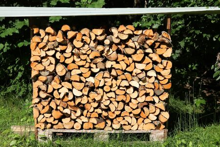 Firewood Outdoor Storage   Covered Wooden Logs Stacked. Stock Photo    99419005