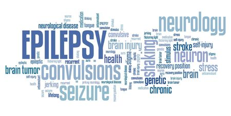 Epilepsy - neurological disorder issue. Word cloud sign. 스톡 콘텐츠