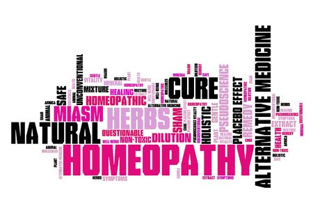 Homeopathy - alternative medicine with controversies. Word cloud sign. Stock Photo