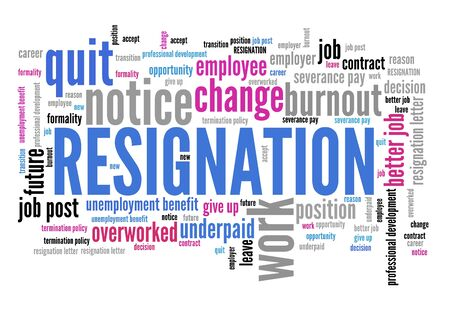 Resignation - job quitting and professional change. Career word cloud. Фото со стока