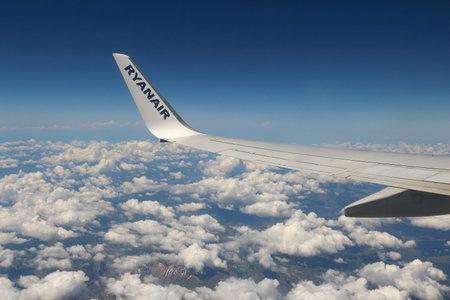EPIRUS, GREECE - JUNE 6, 2016: Ryanair Boeing 737-800 over Greece. Ryanair is one of largest operators of Boeing 737 with fleet of 354 aircraft.