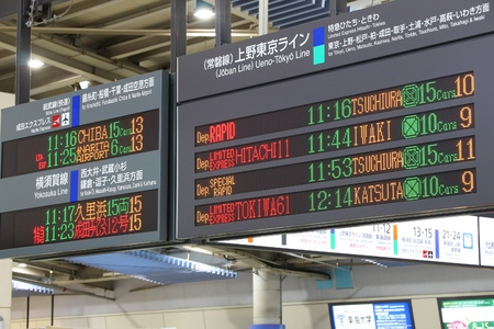 TOKYO, JAPAN - DECEMBER 3, 2016: Train timetables at Shinagawa Station in Tokyo. The station was used by 335,661 passengers daily in 2013.