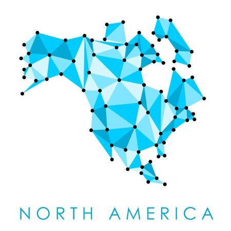 North America low poly map vector - geometric style illustration.