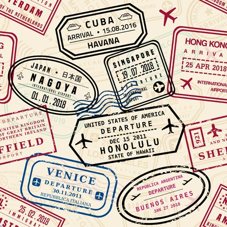 Passport stamps vector seamless pattern - travel stamp theme (fictitious stamps). Stock Illustratie