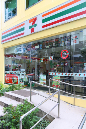 MANILA, PHILIPPINES - DECEMBER 7, 2017: 7-Eleven convenience store in Manila, Philippines. 7-Eleven is worlds largest operator, franchisor and licensor of convenience stores, with more than 46,000 sh