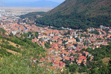 Brasov aerial view in Romania. Old Town in Transylvania region.
