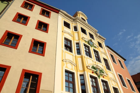 Architecture in Bautzen (Budysin) - town in Saxony (Sachsen) land in Germany. Stock Photo