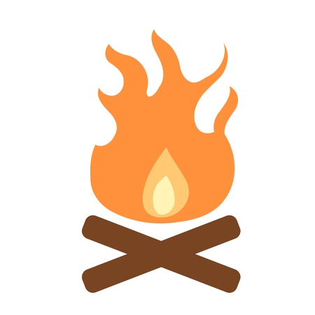 Bonfire icon - simple camp fire illustration design element.