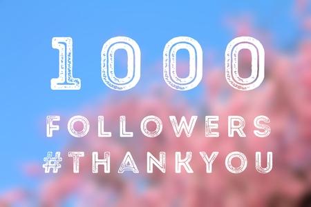 Social media celebration banner - 1000 followers. 1k online community fans. 写真素材