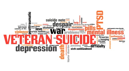 Veteran suicide - soldier psychology concept. Word cloud sign.