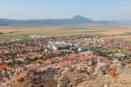Rasnov town, Transylvania region of Romania. Aerial view townscape.