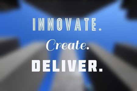 Innovate, create, deliver - business inspirational poster with motivation words. 스톡 콘텐츠