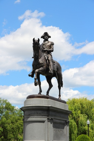BOSTON, USA - JUNE 9, 2013: Washington Monument at Public Garden in Boston. Public Garden dates back to 1837 and is a registered monument.