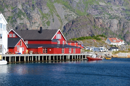 Henningsvaer, Norway - fishing town in Lofoten islands. Stock Photo