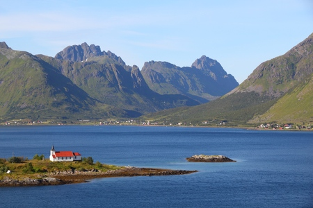 Norway landscape - Sildpollnes church in Vestpollen, Lofoten islands.
