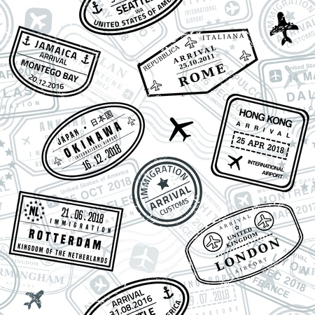 Passport stamps vector seamless pattern - travel stamp theme (fictitious stamps). Illustration