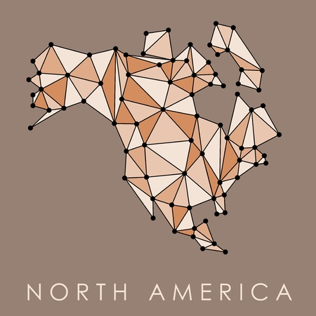 North America map vector - low polygon geometric style illustration.