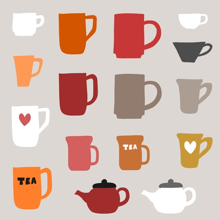 Coffee cups and tea mugs - vector object set.
