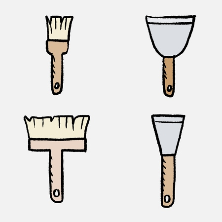 Remodelling tools - house renovation objects. Paint brushes and putty knives. Cartoon style vector. Фото со стока - 103029337