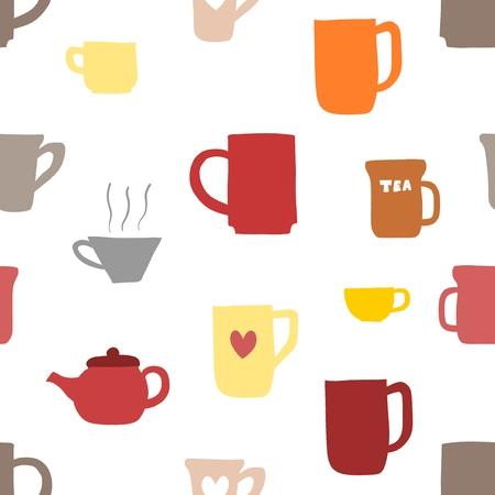 Coffee cups and tea mugs - vector texture. Иллюстрация