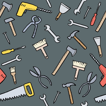 Cartoon tools background - seamless vector texture with hardware, woodworking tools and DIY utensils. Stock Illustratie