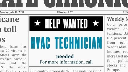Job offer - HVAC technician. Newspaper classified ad in fake generic newspaper.