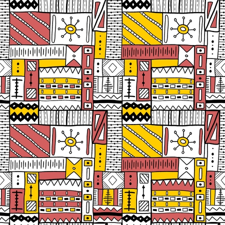 Seamless African tribal pattern - artistic fashion texture. Background vector.