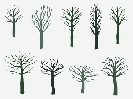 Vector tree shape set - barren tree silhouette illustration collection.