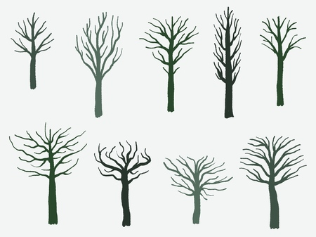 Vector tree shape set - barren tree silhouette illustration collection.