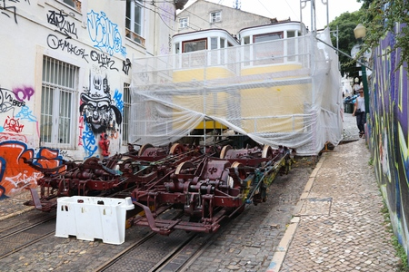 LISBON, PORTUGAL - JUNE 6, 2018: Repair works on Gloria Funicular railway line in Lisbon, Portugal. Lisbon in renowned for its historical funicular trams (ascensores) and yellow streetcars. Editorial