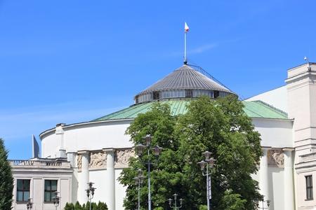 Bâtiment du parlement polonais (Sejm) à Varsovie. Architecture gouvernementale.