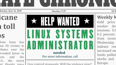 Job offer - systems administrator. IT career newspaper classified ad in fake generic newspaper.