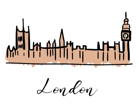 London Palace of Westminster and Big Ben - hand drawn symbol design. Vector graphics.