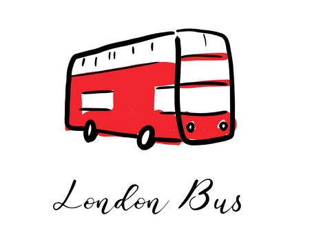 London red double decker bus - hand drawn symbol design. Vector graphics. Stock Illustratie