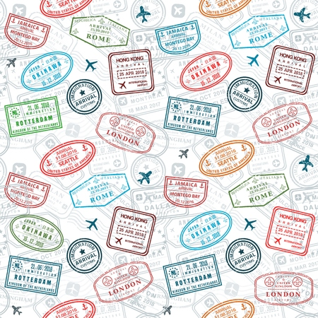 Passport stamps vector seamless pattern - travel stamp theme (fictitious stamps). Ilustração