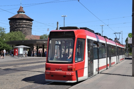 NUREMBERG, GERMANY - MAY 6, 2018: People ride a public transportation electric tram in Nuremberg, Germany. Nuremberg is located in Middle Franconia. 511,628 people live here.