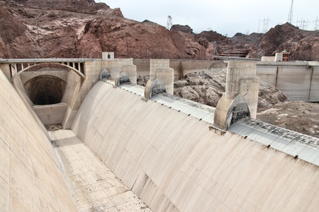 Concrete spillway of Hoover Dam power plant, Arizona, USA.