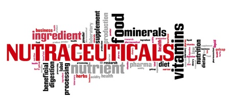 Nutraceuticals graphics - standardized pharmaceutical grade nutrients and supplements. Word cloud.