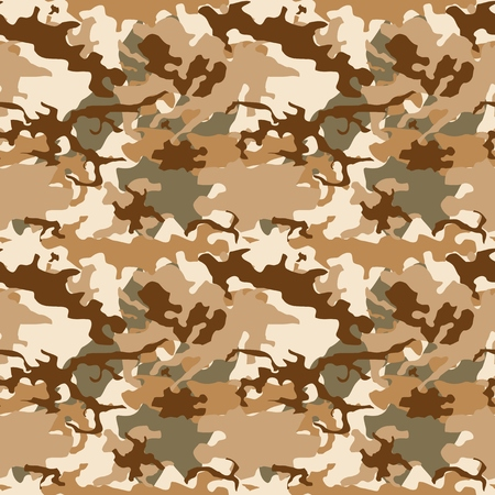 Desert camouflage vector texture - seamless military camo fashion fabric background. Illustration