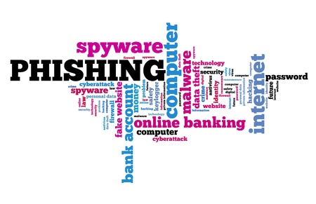 Phishing spyware concept - compromised computer security. Word cloud.