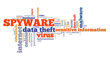 Spyware virus text graphics - compromised computer security concept. Word cloud.