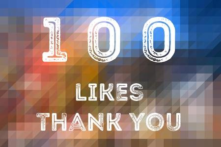 100 likes - social media milestone achievement. Online community thank you note. 100 follows.
