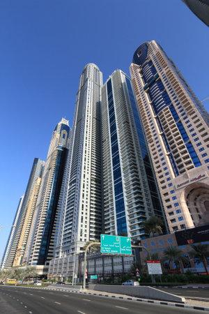 DUBAI, UAE - NOVEMBER 23, 2017: Skyline of Dubai Marina district, United Arab Emirates. Dubai is the most populous city in UAE and a major global city.