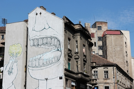 BELGRADE, SERBIA - AUGUST 15, 2012: Street art in Belgrade. Urban art was introduced in Serbia only a few years ago, but gained a lot of popularity with multitude of artworks in Belgrade. Stok Fotoğraf - 115574560