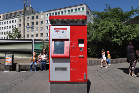NUREMBERG, GERMANY - MAY 6, 2018: Ticket machine for public transportation (VAG) in Nuremberg, Germany. Nuremberg is located in Middle Franconia. 511,628 people live here.