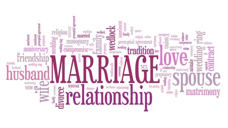 Marriage - relationship contract. Marital union. Word cloud sign.