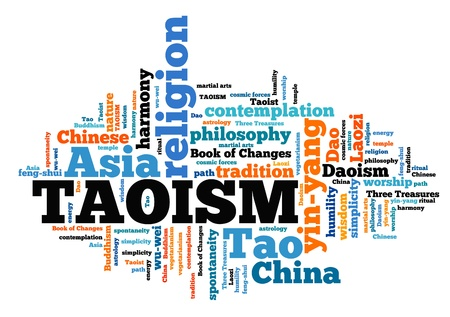 Taoism - Chinese religious or philosophical tradition. Asian culture. Word cloud sign.